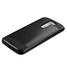 LG Phoenix 2 Rugged Hybrid Brushed Rubber Shockproof Hard Case Slim Cover BLACK