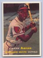 "1957 HANK AARON - Topps - ""REPRINT"" Left Var. Baseball Card #20 - MIL. BRAVES"