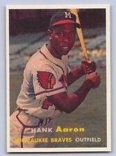 """1957 HANK AARON - Topps - """"REPRINT"""" Left Var. Baseball Card #20 - MIL. BRAVES"""