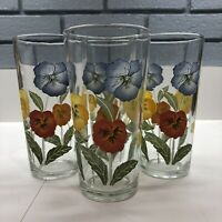 Set of 4 Indonesian Tumblers Drinking Glasses Floral Flowers