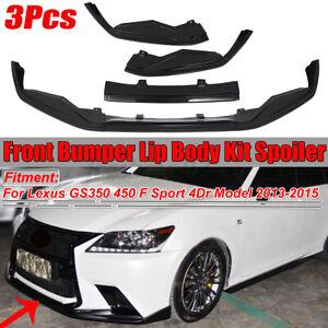 For Lexus GS350 GS450h F Sport 4Dr 2013-15 Black Front Bumper Lip Spoiler