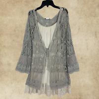 Plus Vintage Boho Peasant Hippie Crochet Laced Kimono Duster Cardigan Mocha 1 SZ