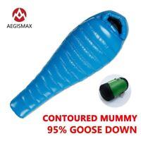 -10° F AEGISMAX 95% Goose Down Mummy Camping Sleeping Bag Baffle Design Splicing
