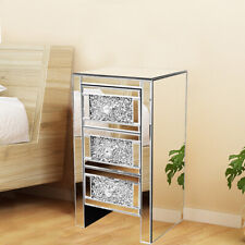 Mirrored Bedside Table Crystal 3 Drawers Nightstand Chic Glass Cabinet Cupboard