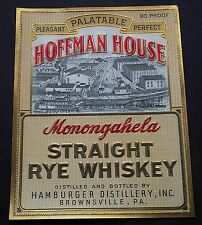 VERY RARE  IMPRESSIVE  ANTIQUE HOFFMAN HOUSE WHISKY BOTTLE LABEL