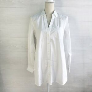 NWT Gap Maternity - Perfect Shirt White V-neck poplin button up, M