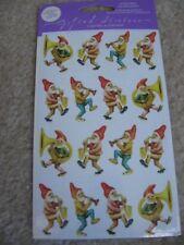 NIP 2sh Gifted Line Vtg Christmas Stickers Garden Gnomes Santa Music Instruments