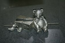 Heavy Metal Picture Holder Features Teddy Bear Blocks Pewter? Baby Room Decor