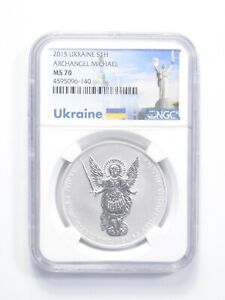 MS70 2015 Ukraine 1 Hryvnia - 31.1g Silver - Archangel Michael - Graded NGC *919