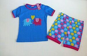 Girls Shortie pyjama set- Blue & Pink Elephant Design- Age 6 Years - NEW