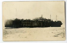 Unidentifed military transport ship. #1 RPPC real photo Postcard