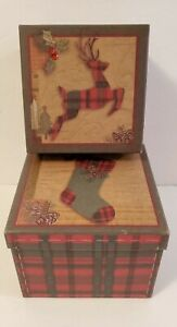 Set of 2 Christmas Nesting Boxes Gifts Cookies Treats Decorative Storage 5 x 6