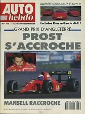 AUTO HEBDO n°736 du 18 Juillet 1990  GP ANGLETERRE LOTUS ELAN MAZDA MIATA BMW Z1