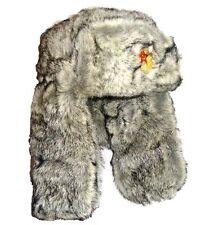 MILITARE RUSSA COSSACK Trapper Hat Mens Medium Thick Grigio Pelliccia sovietica USHANKA