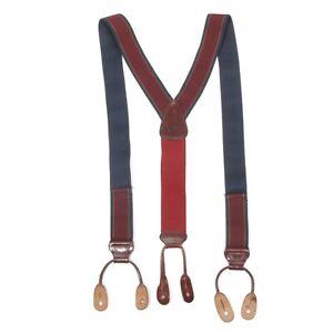 TRAFALGAR Classic Burgundy Navy Men's Suspenders Braces Nylon with Leather