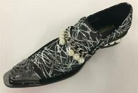 Men's New Fiesso Silver Slip on Shoes with Gunmetal Pointed Metal Toe FI 7130