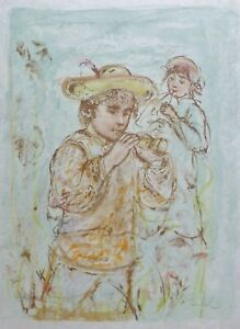 """EDNA HIBEL (1917-2014) """"Boy with Horn""""Hand Signed Lim. Ed. Lithograph US Artist"""