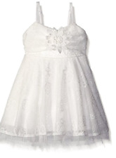 NEW NWT Ivory Le Pink Girls' Lace Skater Skirt Dress with Bow Crochet Floral 4