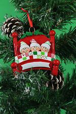 Adornos De Navidad árbol Decoración Personalizados-en la cama 3 cabezas de familia feliz