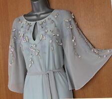 MONSOON Light Blue Silky Amelle Kaftan Embellished Bridesmaid Maxi Dress UK12 40