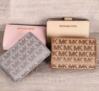Michael Kors JET SET TRAVEL  Bifold Zip Coin Case Leather  Fabric Wallet