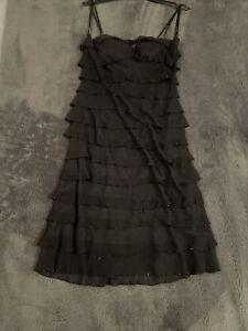 Ladies Mon Cheri Evening Cocktail Dress Layered Sequined Size UK 12 100% Silk