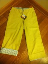 Horny Toad LuLu Capri Size 4 (28x22.5) In Husk (Yellow) Roll-Up Cuff NEW W TAGS!