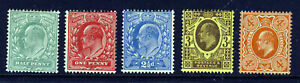 GB King Edward VII 1902 to 1913 Harrison Printings Perf 15x14 SG 279 - 286 MINT