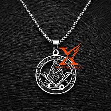 "Stainless Steel Silver Key Masonic Symbol Freemason Pendant Necklace 24"" Chain"