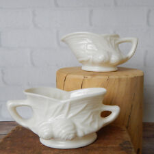 Vintage Sugar Bowl Creamer Set White Pine Cone Pattern Lightweight