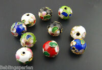 90 Mix Mehrfarbig Cloisonne Perlen Beads Kugel Ball 10mm für Halskette Armband
