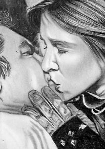 ORIGINAL ACEO sketch card STAR WARS Harrison Ford & Carrie Fisher HAN & LEIA