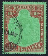 Bermuda 1938 SG119 10/- Green and Red Perf 14 6th Printing Fine Used