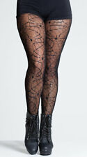 One Size Fits Most Womens Sheer Spider Web Pantyhose, Halloween Hosiery