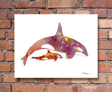 Orca and Baby Art Print Contemporary Abstract Watercolor Wall Decor