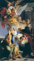 Oil painting Giovanni Battista Tiepolo - education of the virgin with angels art