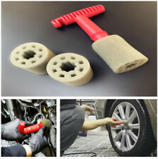 4Pcs Universal Fitting Recessed Lug Nut Wheel Cleaning Brush with 3 Sponges Set
