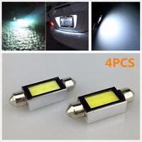 4PCS 12V White Xenon 36mm Car COB LED License Plate Light 6418 C5W 4W LED Bulbs
