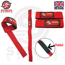WEIGHT LIFTING STRAPS PADDED GYM WRIST HAND BAR SUPPORT SINGLE LOOP RED