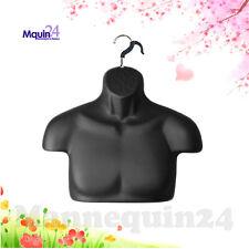 Male Mannequin Torso Black Free-Standing + Removal Hanger