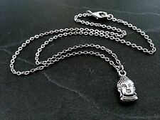 """Silver Buddha Necklace Dainty Tiny Head Pendant on 16"""" Stainless Steel Chain"""