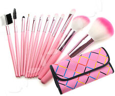 12pcs/kit professional Cosmetic Make Up Brush with bowknot decorated pink case