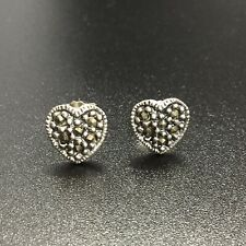 MARCASITES STERLING SILVER HEART STUD EARRINGS