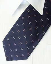 Navy Blue With A Block / Square Design Silk Mens Tie