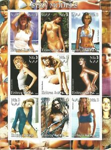NUDE GIRLS ART SEXY LADY TOPLESS MNH MINI SHEET WITH NINE STAMPS (22)