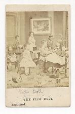 1860's CDV Photo Children w/ TOY TRAIN ENGINE, DRUM, ARK, DOLLS, DANCING FIGURE