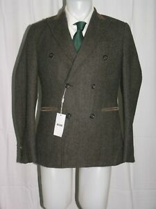 Moschino Olive Gray Herringbone Tweed Peak Lapel Double Breasted Blazer 40R NWT