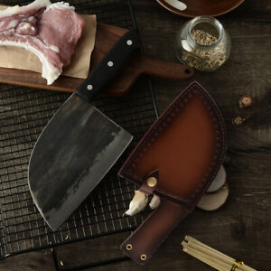Handmade Forged Kitchen Meat Vegetable Chopping Chef Knife Cleaver Sheath Sharp