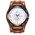 Curren 8225D-3-Brown/Black/Orange Leather Strap Watch