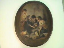 "Vintage Old Time Photograph Photo on wood Children Playing Dice 15"" x 12"""